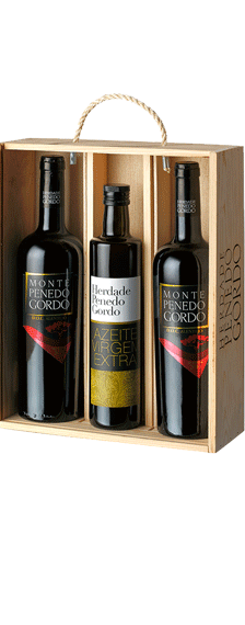 Wooden wine box Reserva and Olive Oil