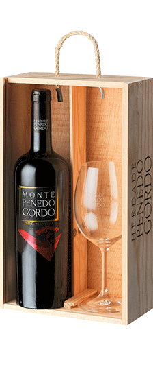 Wooden wine box 1 bottle Reserva and 1 Glass